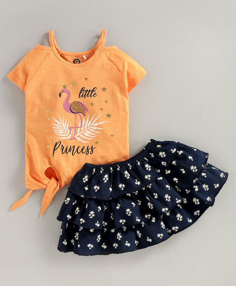 JusCubs Half Sleeves Little Princess Printed Top With Layered Skirt - Peach & Navy Blue