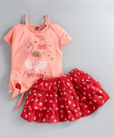 JusCubs Half Sleeves Little Princess Printed Top With Layered Skirt - Peach & Red