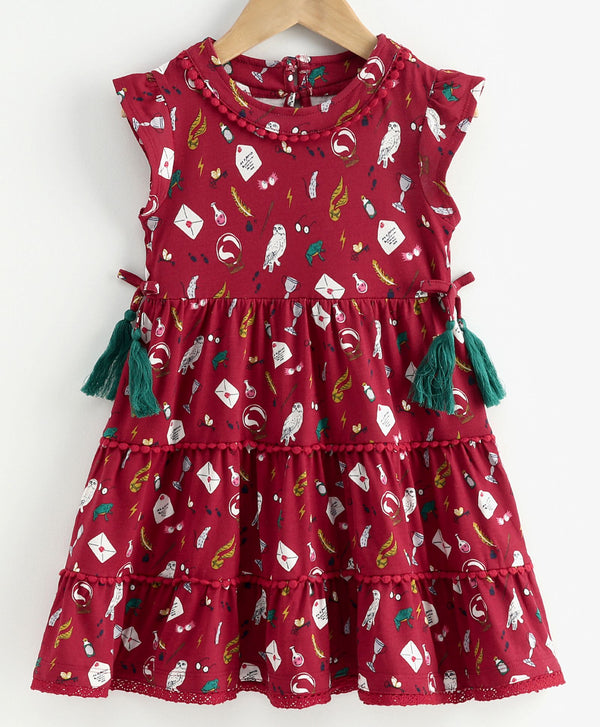 JusCubs Sleeveless Tasseled Magical Theme Print Dress - Maroon