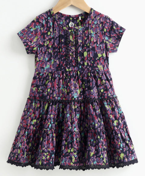 JusCubs Short Sleeves Color Splash Print Dress - Blue