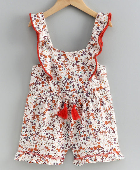 JusCubs Sleeveless Flower Print Jumpsuit - Merron - Red