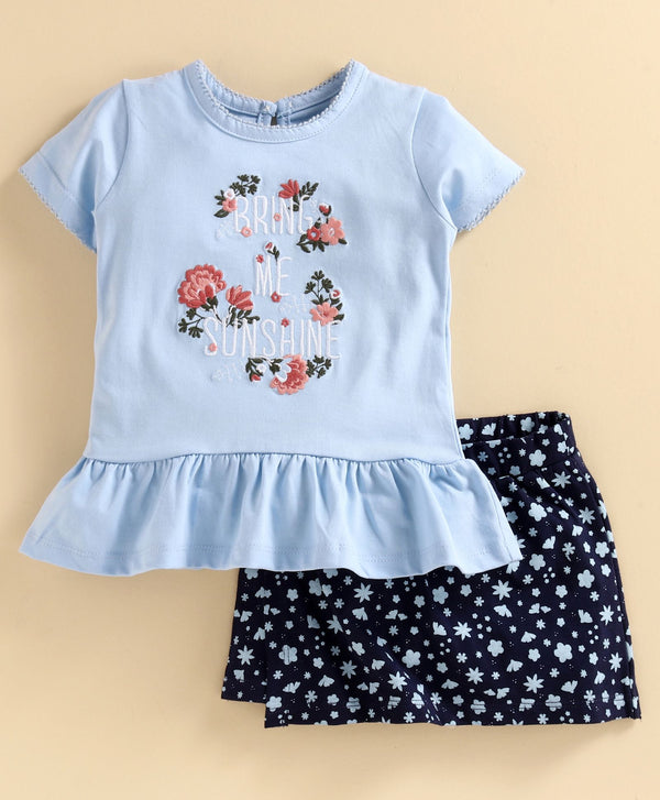JusCubs Short Sleeves Flower Embroidered Top With Printed Skirt - Blue