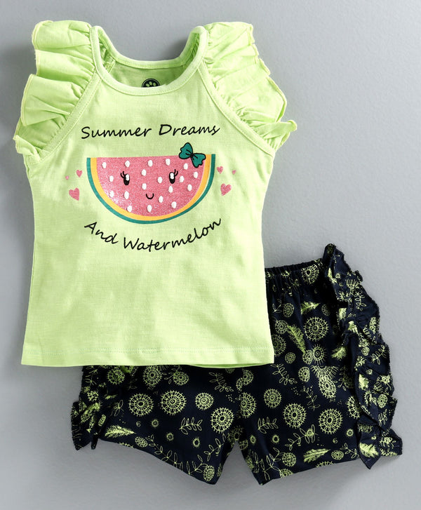 JusCubs Short Sleeves Watermelon Print Top With Shorts - Green