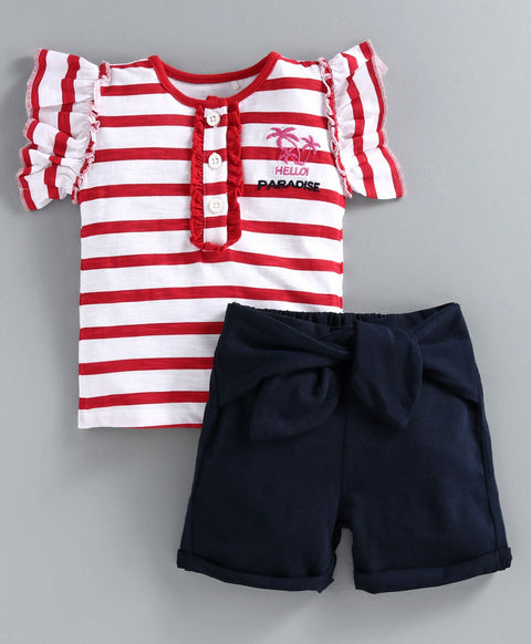 JusCubs Cap Sleeves Striped Top With Shorts - Red