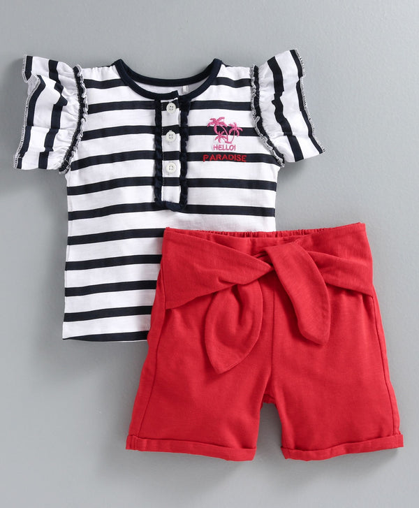 JusCubs Cap Sleeves Striped Top With Shorts - Navy