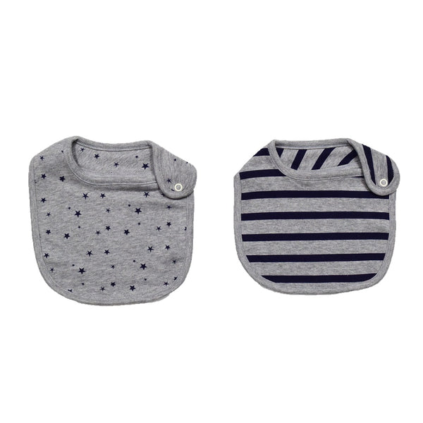 JusCubs Cotton Bibs Star AOP & Stripe Print Set of 2 - Grey & Blue