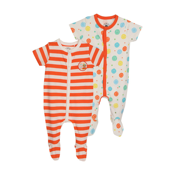 JusCubs SleepSuit AOP & Stripe Pack of 2