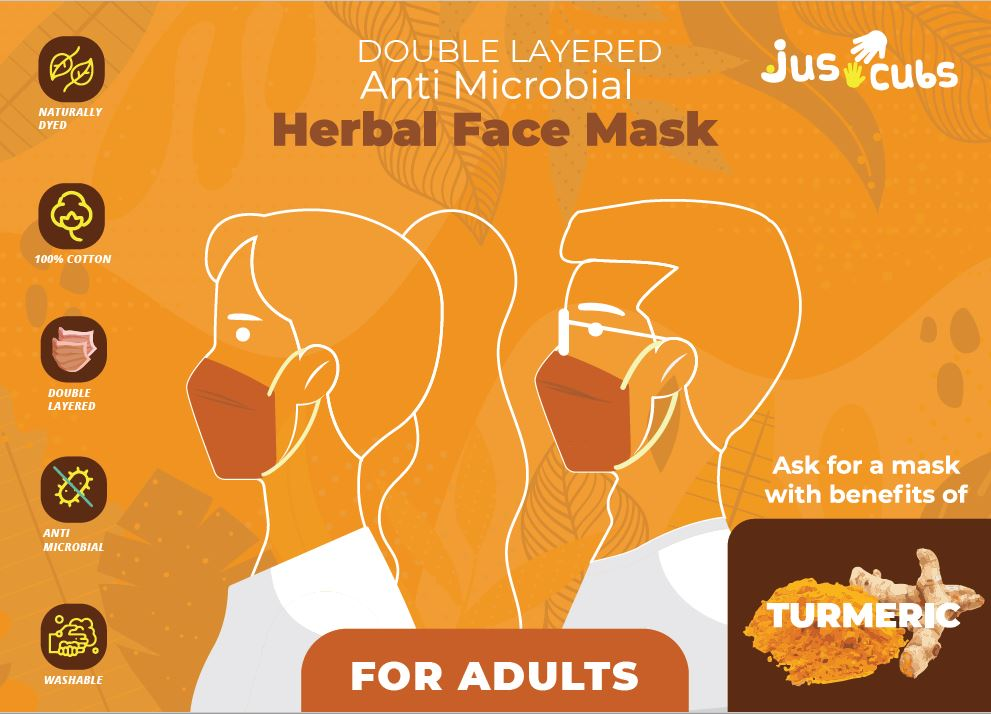 JusCubs Herbal Double Layered Adult Turmeric Mask Pack of 5
