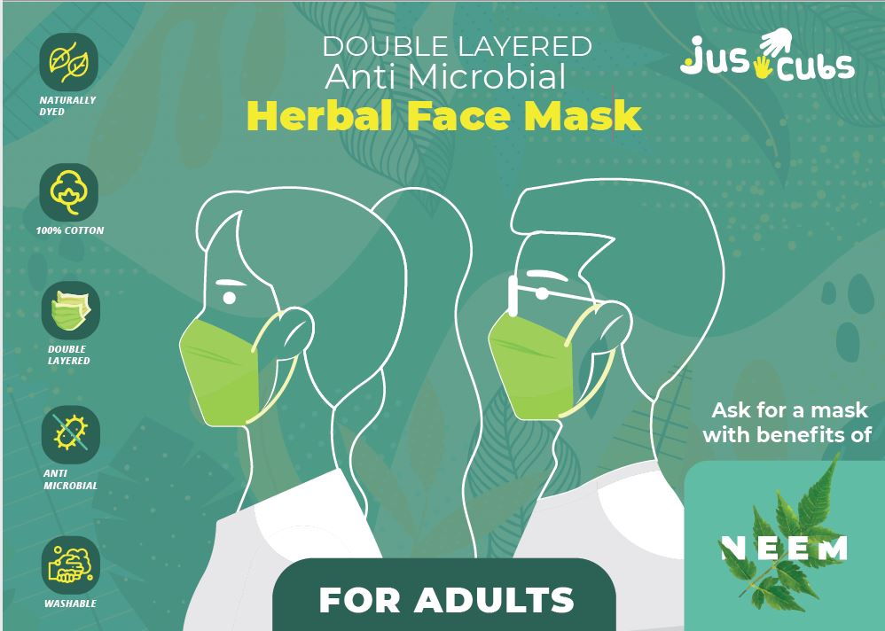 JusCubs Herbal Double Layered Adult Neem Mask Pack of 5
