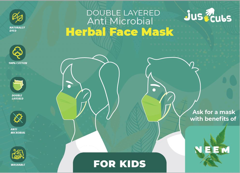 JusCubs Herbal Double Layered Kids Neem Mask Pack of 5
