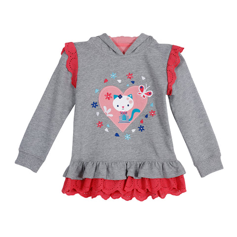 Jus Cubs Girls Fashion Sweatshirt Hoodie - Grey