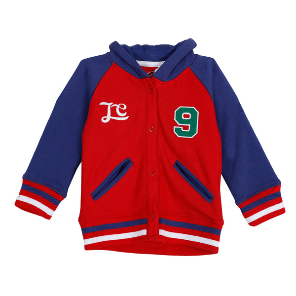 Jus Cubs Boys Buttoned Jacket Hoodie - Red
