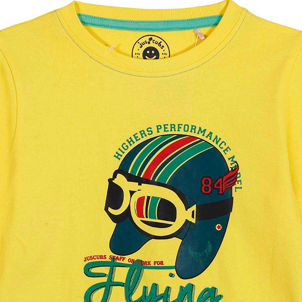 Jus Cubs Boys Higher Performance Model Flying T-Shirt- Yellow