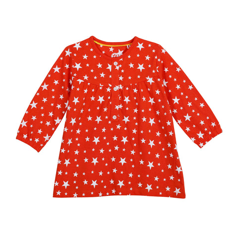 Jus Cubs Girls Star AOP T-Shirt-Orange
