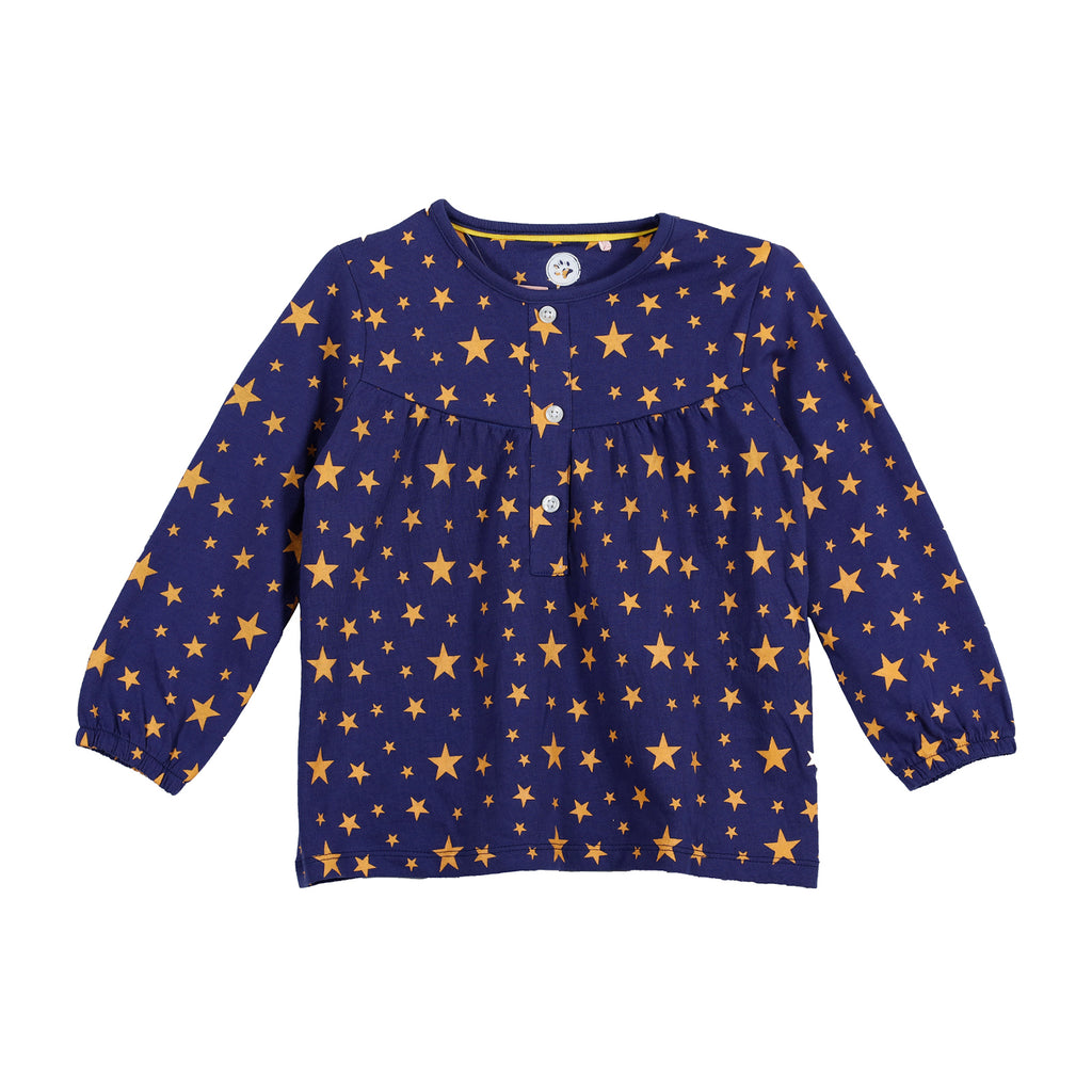 Jus Cubs Girls Star AOP T-Shirt-Navy