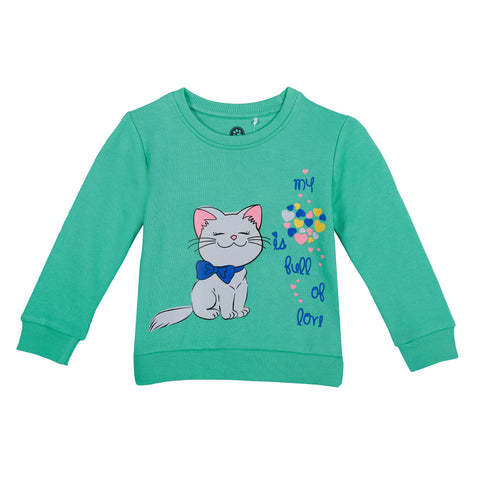 Jus Cubs Girls Cat Print My Heart is full of Love SweatShirt - Green