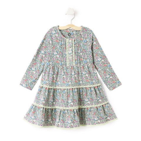 JusCubs Gray Floral Print Full Sleeve Dress
