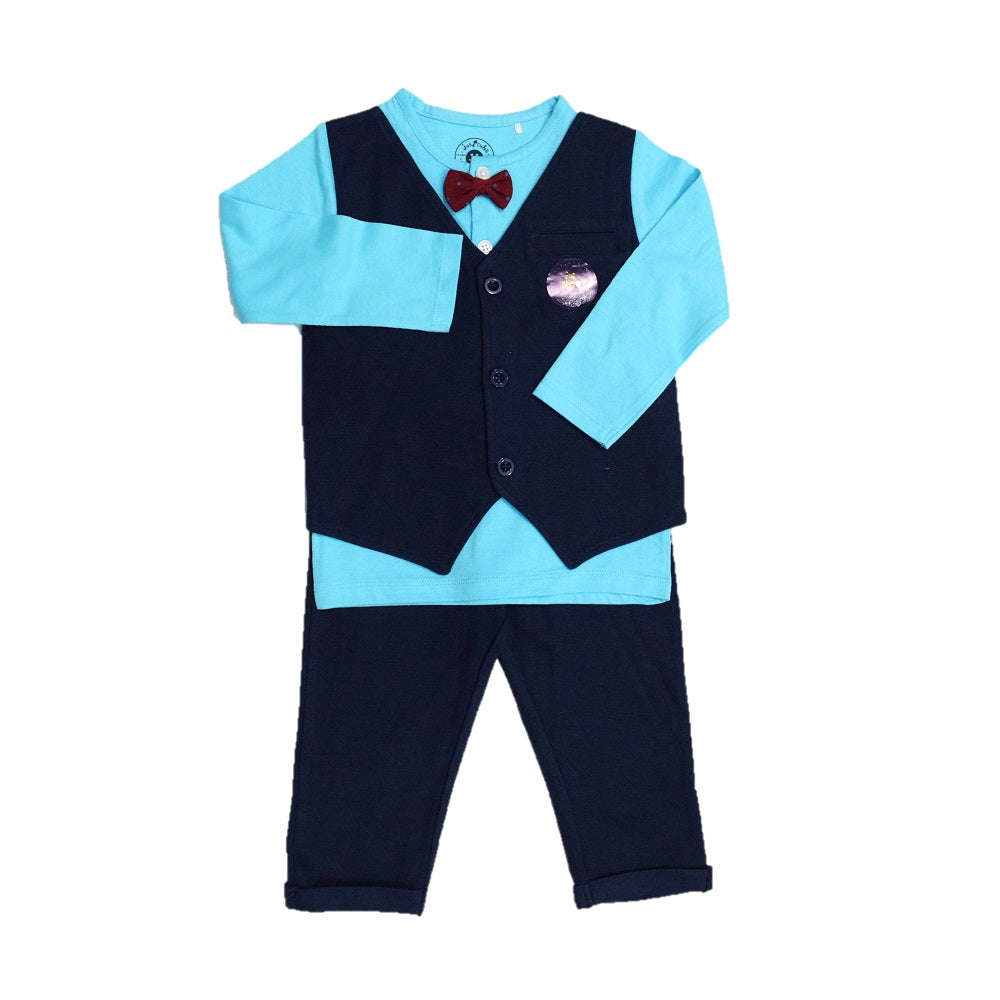 Jus Cubs Solid Full Sleeves Tee With Attached Waistcoat & Bow Tie With Pants