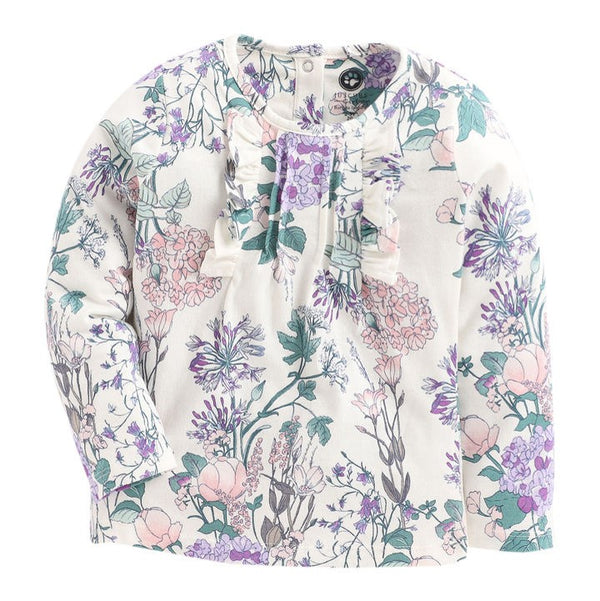 JusCubs Blue Applique Floral Print Full Sleeve Top