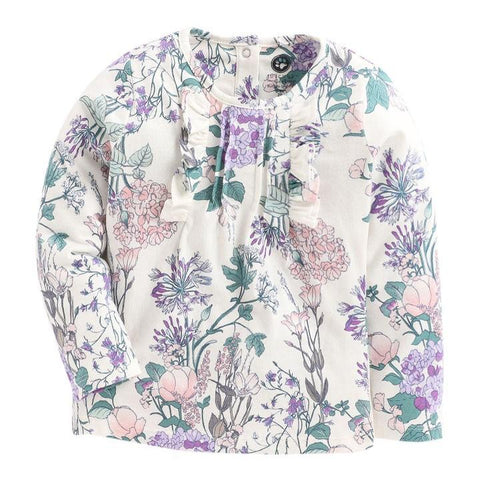 JusCubs Olders Blue Applique Floral Print Full Sleeve Top