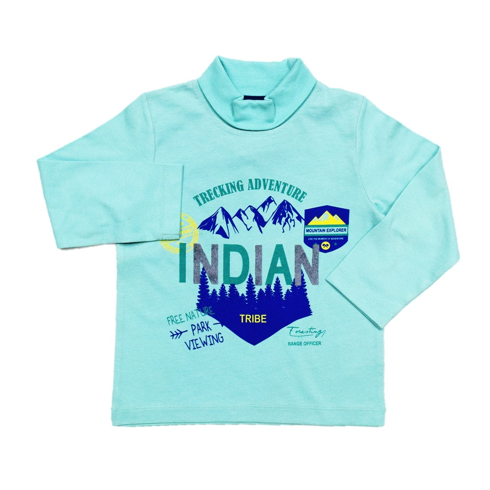 Jus Cubs Boys Indian Trekking Adventure T-Shirt - Green