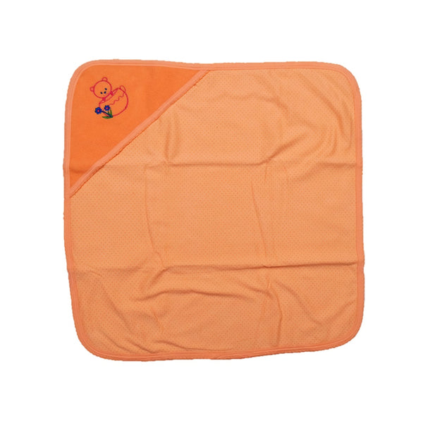 JusCubs Super Baby Wrap Combination of Fast Dry & Baby Wrap Hooded - Teddy - Orange