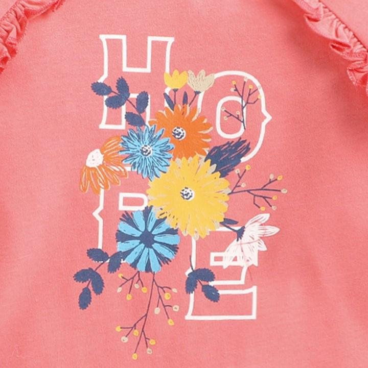 JusCubs Peach Floral Text Print Full Sleeve Top