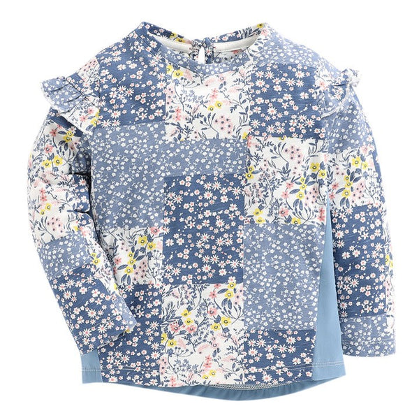 JusCubs Blue Floral Print Full Sleeve T-Shirt