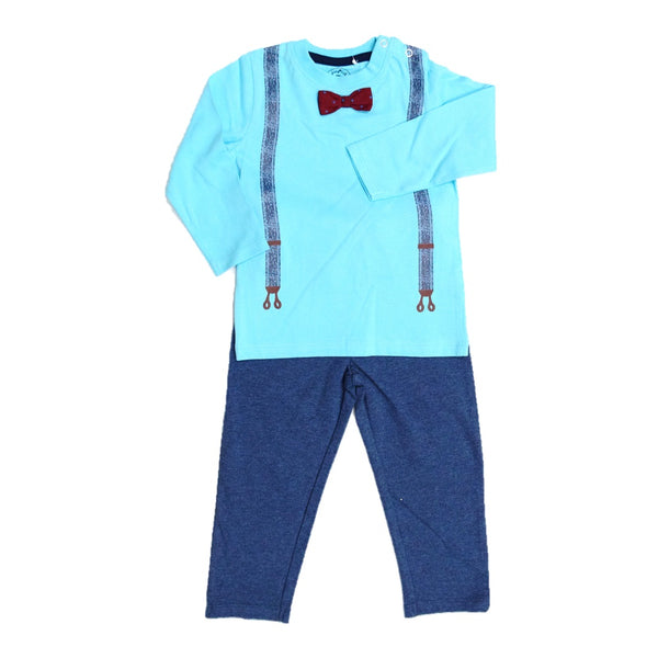 Jus Cubs Striped Full Sleeves Track Suit - Blue & Navy Melange