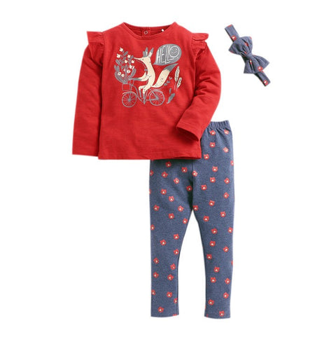 JusCubs Red All Over Print Full Sleeve Top And Pyjama Set