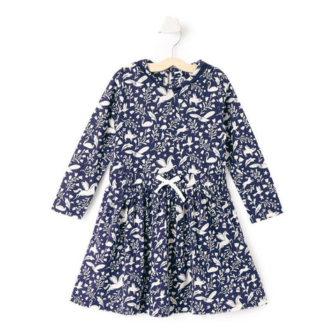 JusCubs Navy Animal Print Full Sleeve Dress