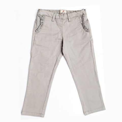 JusCubs Girls Trouser With Fashionable Frill Packet-Grey