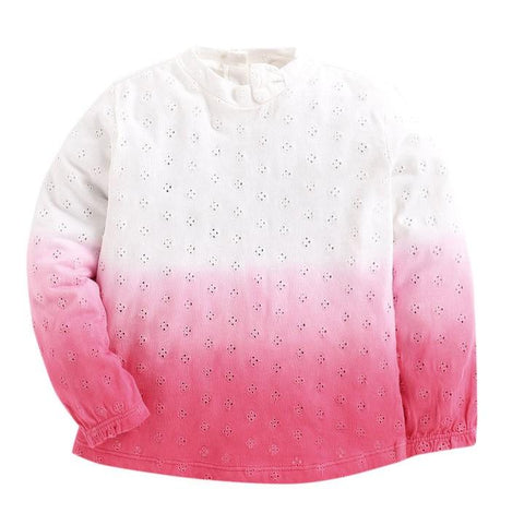 JusCubs Pink Colour Full Sleeve Girls T-Shirt Made Of Soft Pointel Fabric and Dip Dyed