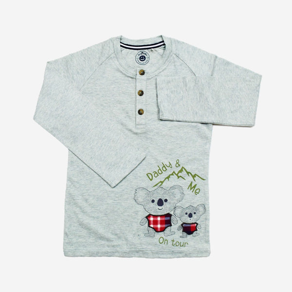 Jus Cubs Boys Full Sleeve T-Shirt-Grey