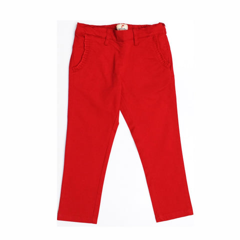 JusCubs Girls Trouser With Fashionable Frill Packet-Red