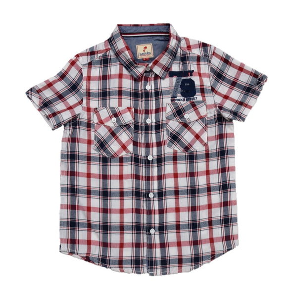 JusCubs Boys Embroidery Checked Shirt