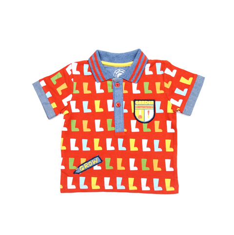 JusCubs Boys Garden Adventure AOP  Polo-Tee