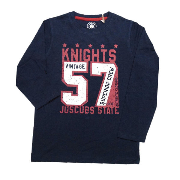 JusCubs Boys Vintage Knights Print Full Sleeve T-Shirt