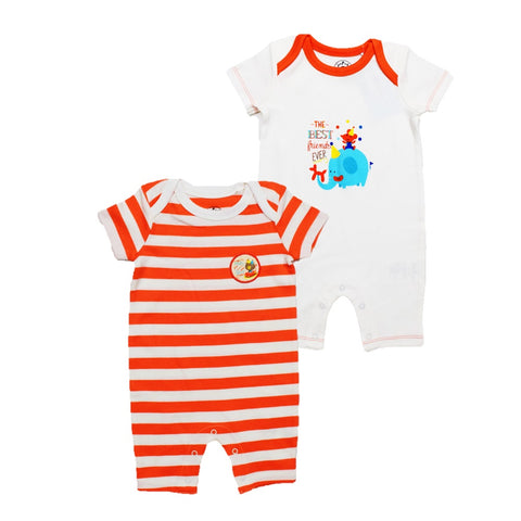 JusCubs Boys Solid-Stripe Rompers Pack of 2
