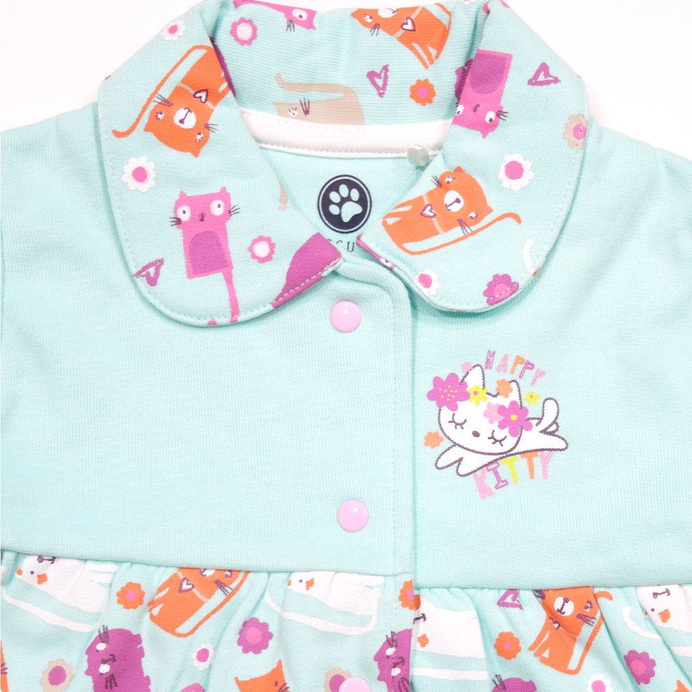 Jus Cubs Girls Happy Kitty Printed Jacket-Green