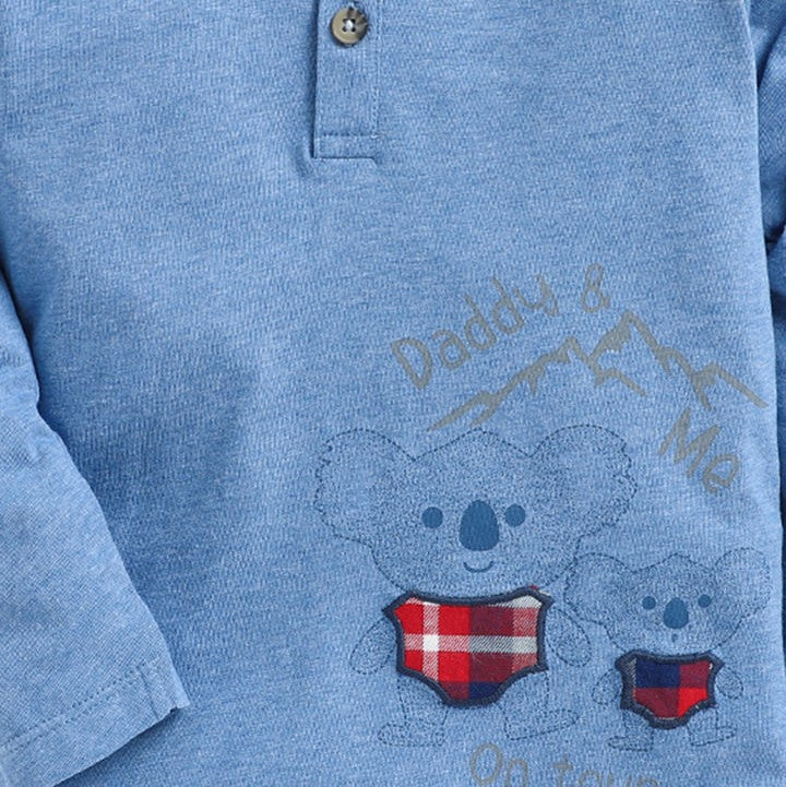 JusCubs Blue Teddy Print Full Sleeves T-Shirt
