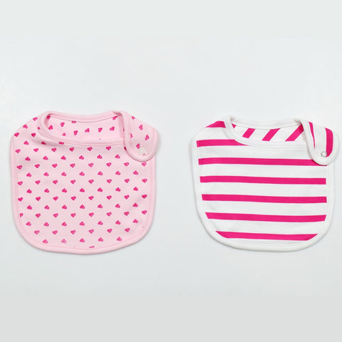 JusCubs Cotton Bibs Little Heart AOP & Stripe Print Set of 2 - Pink