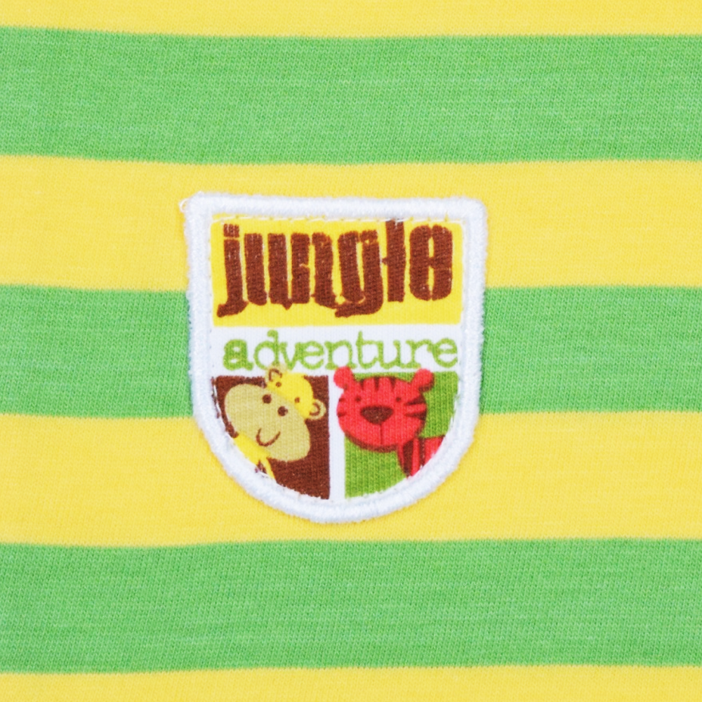 JusCubs Mustard Green Stripe Polo With Patch Work