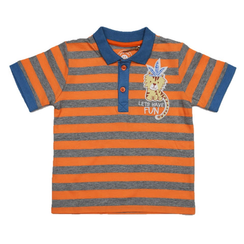 JusCubs Boys Lets Have Fun Stripe Polo-Tee