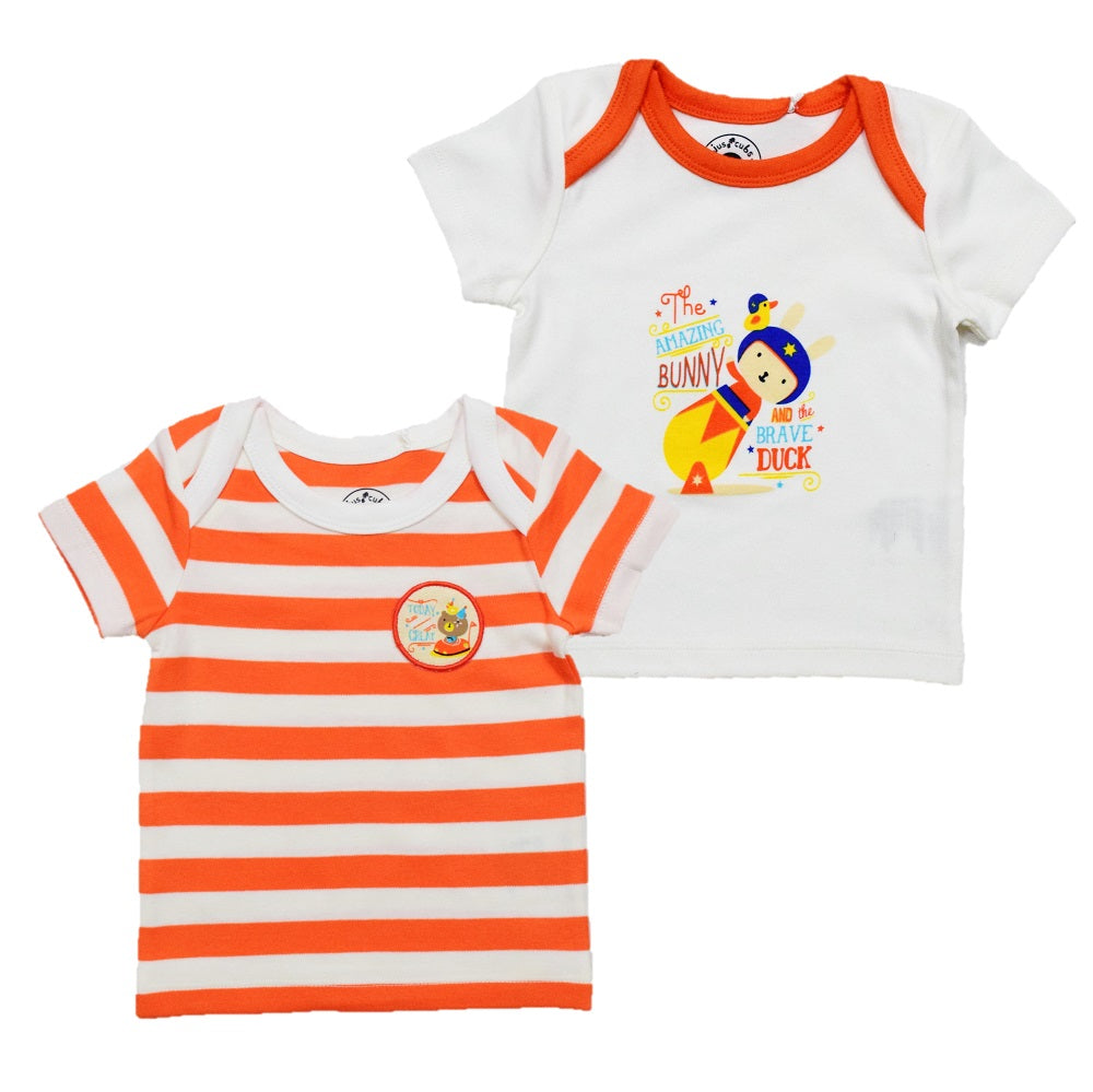 JusCubs Boys  Stripe-Solid-T-Shirt Pack of 2