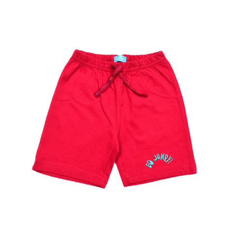 JusCubs Boys Plain Cotton Shorts - Red