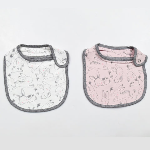 JusCubs Cotton Bibs Animal Print Set of 2 - Pink & White