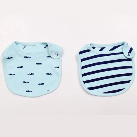 JusCubs Cotton Bibs Car AOP & Stripe Print Set of 2 - Blue