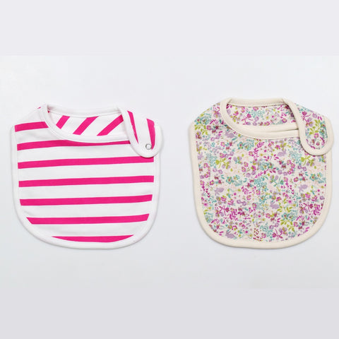 JusCubs Cotton Bibs Flower AOP & Stripe Print Set of 2 - Off White & Pink