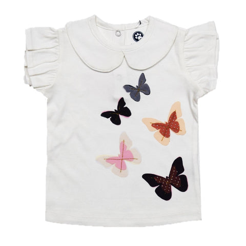JusCubs Girls Butterfly Design Work T-Shirt